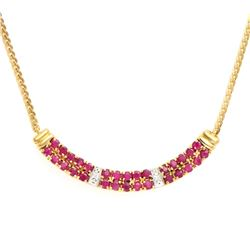 Plated 18KT Yellow Gold 2.25ctw Ruby and Diamond Pendant with Chain
