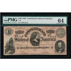 1864 $100 Confederate States of America Note PMG 64