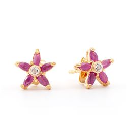 Plated 18KT Yellow Gold 1.05ctw Ruby and Diamond Earrings