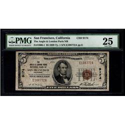 1929 $5 San Francisco National Bank Note PMG 25