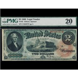 1869 $2 Legal Tender Note PMG 20