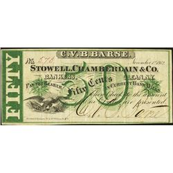 1862 Fifty Cent CVB Barse Stowell Chamberlain and Co Note