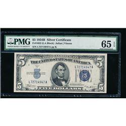 1934B $5 Silver Certificate PMG 65EPQ