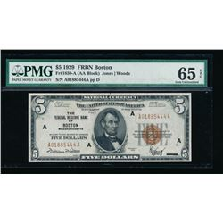 1929 $5 Boston Federal Reserve Bank Note PMG 65EPQ