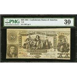 1861 $20 Confederate States of America Note PMG 30