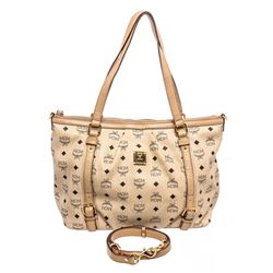 MCM Cream Coated Canvas Visetos Medium Tote Bag