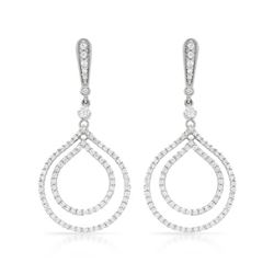14k White Gold 1.23CTW Diamond Earrings, (SI3/G)