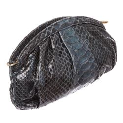 MCM Navy Blue Python Snakeskin Clutch Bag