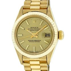 Rolex Ladies 18K Yellow Gold Champagne Index Datejust President Wristwatch