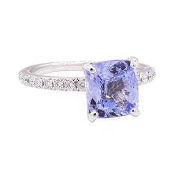 3.12 ctw Blue Sapphire and Diamond Ring - 18KT White Gold