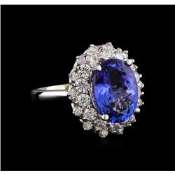 5.53 ctw Tanzanite and Diamond Ring - 14KT White Gold