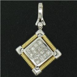 18kt White and Yellow Gold 1.12 ctw Invisible Set Princess Cut Diamond Pendant