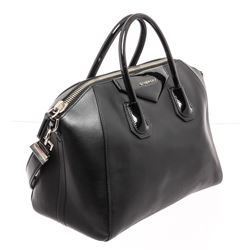 Givenchy Black Leather Medium Antigona Satchel Shoulder Bag