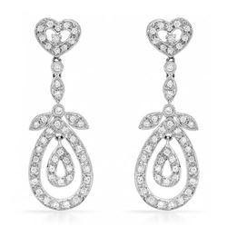 18k White Gold 0.78CTW Diamond Earrings, (SI3-I1/H-I)