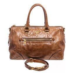 Prada Brown Leather Vitello Daino Medium Shoulder Bag