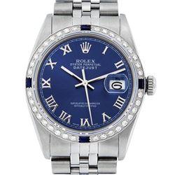 Rolex Mens Stainless Steel Blue Roman Diamond & Sapphire 36MM Datejust Wristwatc