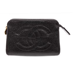 Chanel Vintage Black Caviar Leather Timeless Pouch
