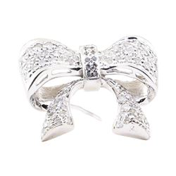 1.10 ctw Diamond Pendant-Pin - 14KT White Gold
