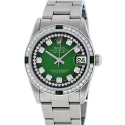 Rolex Womens Midsize 31mm Green Vignette String Diamond & Emerald Datejust Wrist