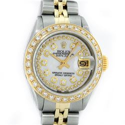Rolex Ladies 2 Tone 14K MOP String Diamond Datejust Wristwatch
