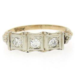 10k Two Tone Gold 0.25 ctw Diamond Open Filigree Milgrain Work Band Ring