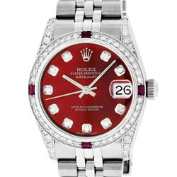 Rolex Womens Midsize 31mm Red Diamond Lugs & Ruby Datejust Wristwatch