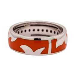 Leo Wittwer 18KT White Gold Ring with Orange Enamel