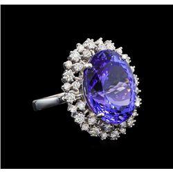 GIA Cert 16.94 ctw Tanzanite and Diamond Ring - 14KT White Gold