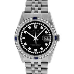 Rolex Mens Stainless Steel Black String Diamond & Sapphire Datejust Wristwatch