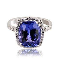 4.39 ctw Tanzanite and 0.29 ctw Diamond 18K White Gold Ring