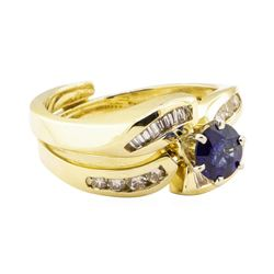 1.04 ctw Blue Sapphire And Diamond Ring And Band - 14KT Yellow Gold