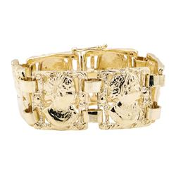 Sculpted Station Bracelet - 14KT Yellow Gold