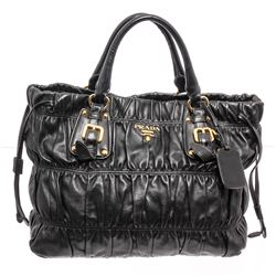 Prada Dark Blue Nappa Gaufre Leather Satchel Bag