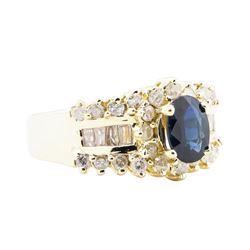 2.95 ctw Blue Sapphire And Diamond Ring - 14KT Yellow Gold