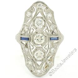 Art Deco Platinum 1.20 ctw Old European Diamond Long Filigree Dinner Ring