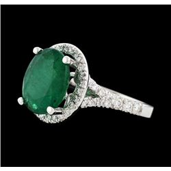3.05 ctw Emerald and Diamond Ring - 14KT White Gold