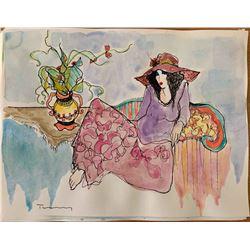 """Itzchak Tarkay """"Watercolor (Untitled Ref. #8)"""""""