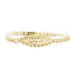 Double-Rope I.D. Bracelet - 14KT Yellow Gold