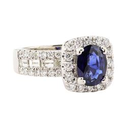 2.79 ctw Blue Sapphire And Diamond Ring - 14KT White Gold