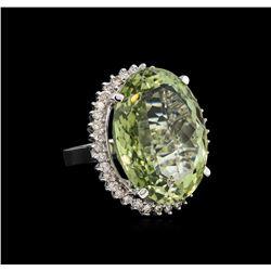 14KT White Gold 37.65 ctw Quartz and Diamond Ring
