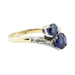 2.07 ctw Oval Brilliant Blue Sapphire Ring - 14KT Yellow Gold