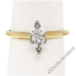18kt Yellow and White Gold 0.38 ctw Marquise Cut Diamond Solitaire Engagement Ri