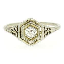 18k White Gold Old European Diamond Solitaire Ring