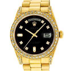 Rolex Mens 18K Yellow Black Diamond Lugs Quickset President Wristwatch With Box