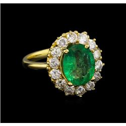 14KT Yellow Gold 2.69 ctw Emerald and Diamond Ring