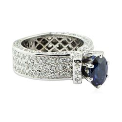 3.31 ctw Round Brilliant Blue Sapphire And Diamond Ring - 14KT White Gold