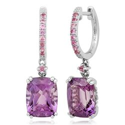 14k White Gold  4.43CTW Amethyst and Pink Sapphire Earrings