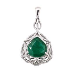 11.38 ctw Emerald and Diamond Pendant - 14KT White Gold