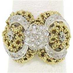 18K Two Tone Gold 0.45 ctw Single Cut Diamond Open Work Dome Cocktail Ring
