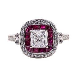 1.22 ctw Diamond and Ruby Ring - Platinum